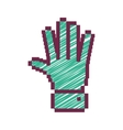 Pixelated open hand with green striped