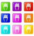portion of french fries icons 9 set vector image