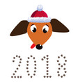 portrait of dachshund dog dressed in santas hat vector image vector image