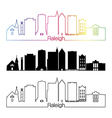 Raleigh V2 skyline linear style with rainbow vector image vector image