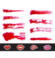 red lipstick smears set texture brush strokes vector image vector image