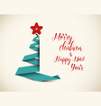 retro christmas tree made from green paper stripe vector image vector image