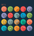 Round Thin Icon with Shadow Set 5 vector image vector image