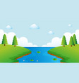 scene with river and trees vector image