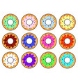 set of colorful donuts flat design vector image