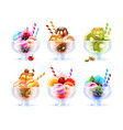 sherbet icecream glass set vector image vector image