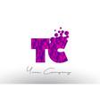 tc t c dots letter logo with purple bubbles vector image vector image