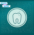 tooth icon on a green background with arrows in vector image