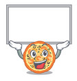 up board seafood pizza served on character plate vector image
