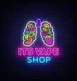 vape shop neon sign vaping store logo vector image vector image