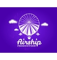 Vintage airship logo Retro Dirigible balloon vector image