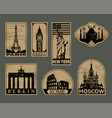 Vintage paper landmarks travel labels