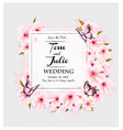 wedding invitation design with pink flowers vector image vector image