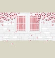 white wall and windows with flowers vector image vector image