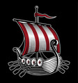 with ship of viking vector image vector image