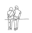 young couple walking together vector image vector image