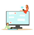 young man and woman sitting on a big computer and vector image vector image