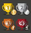 winning cups medals set vector image
