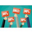 holding red sign boards with the word sale vector image