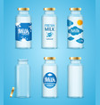 milk bottles drink set vector image