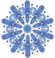 Blue ornamental round lace vector image