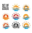Hot big season summer sale stickers or banners set vector image