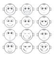 Set of baby smiley Cute cartoon kids emoticon vector image