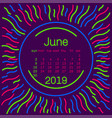 2019 june calendar page in memphis style poster vector image