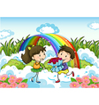 A couple dating near the rainbow vector image vector image