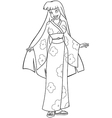 Asian Woman In Kimono Coloring Page vector image vector image