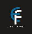 blue white ef letter logo template vector image vector image