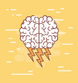 brain top view colorful silhouette with lightnings vector image vector image