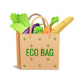 brown paper or linen eco bag with fresh vegetables vector image