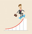businessman on skateboard on growth arrow of graph vector image vector image