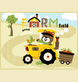 cartoon of cute farmer on yellow tractor vector image vector image