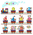 children on the train of numbers vector image vector image