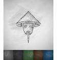 chinaman icon Hand drawn vector image vector image