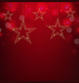 christmas red card christmas stars vector image vector image
