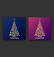christmas tree made from snowflakes vector image vector image