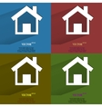 Color set house Flat modern web button with long vector image