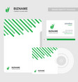 compnay brochure design with stationary items vector image