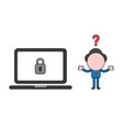 confused businessman character wit laptop vector image