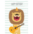 cute lion sings and plays guitar birthday card vector image vector image