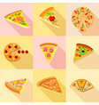 different types of pizza icons set flat style vector image