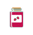 drawing jars with strawberry jam on vector image vector image