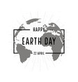 earth day holiday poster with shadow on white vector image vector image