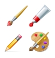 Education icons Pencil palette paint tube and vector image