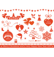 Flat Christmas icons symbols vector image vector image