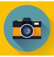 Flat style with long shadows camera icon vector image vector image