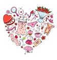 Gift Ideas for girl in heart shape vector image